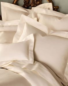 1,020-Thread-Count Solid Sateen Bed Linens by SFERRA at Horchow.
