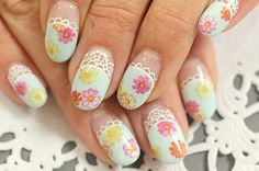 20 Beautiful Floral Nail Designs With Vintage Glamour - 101 NailDesign Nail Designs 2014, Purple Nail Designs, Flower Nail Designs, Cool Nail Designs, Acrylic Nail Designs, Vintage Glamour, Vintage Nails, Vintage Floral, Lace Nails