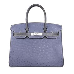 Hermes Birkin Bag in Agate blue & gray with Ostrich leather Popular Purses, Blue Grey, Gray, Hermes Birkin, Agate, Purses And Bags, Handbags, Leather, Totes
