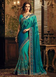 Rama Green Half N Half Saree