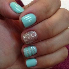 Are you looking for lovely gel nail art designs that are excellent for this summ. - Are you looking for lovely gel nail art designs that are excellent for this summer? See our collect - Mint Green Nails, Mint Nails, Blue Gel Nails, Yellow Nails, Essie Gel, Nail Polishes, Opi Polish, Shellac Manicure, Cute Summer Nails