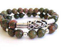 Beaded stretch bracelet featuring unakite beads by Rock & Hardware Jewelry