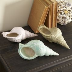 Seashell Vessel | Crafted from ceramic in a variety of seashore hues, this seashell decor features a hollow interior and opening so it can double as a catch-all for odds and ends.