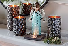 So sweet! Modern Angel Tealight Holder with Signature Elevated Tealight Trio