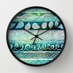 Dreamy Tribal Part VIII Wall Clock by Pom Graphic Design  - $30.00