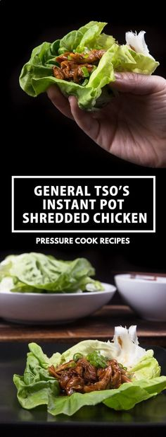Easy General Tso's Style Instant Pot Shredded Chicken Recipe: Moist pressure cooker pulled chicken in addictive sweet, sour  spicy sauce. via Pressure Cook Recipes