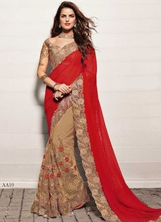 Trendy Brown And Red Georgette Embroidery Work Half N Half Saree  http://www.angelnx.com/Sarees/Wedding-Sarees#/sort=p.date_added/order=DESC/limit=32/page=10