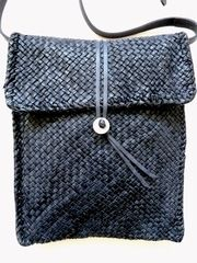 Hand Woven Cross Body Messenger Bag Navy from IMPERIO jp on Taigan