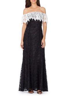 Tahari ASL BlackWhite Chemical Lace Cold-Shoulder Gown