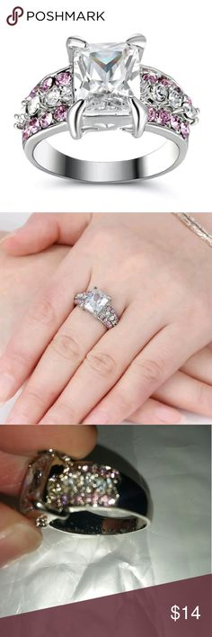 🔮BOGO 10k White Gold Filled White Sapphire Ring 🔮Everything in my closet is temporarily BOGO HALF OFF! See closet sale listing for rules.🔮   This ring is brand new. It's 10k white gold filled with a large white sapphire stone surrounded by pink and white CZs. It's a size 7.5. It has some bubbling inside the band, so I'm selling it for a lot less than I would otherwise. I usually sell it for $20. It doesn't affect the integrity and is solid, meaning bubbles won't scratch off. Jewelry Rings
