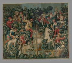 The Unicorn is Attacked (from the Unicorn Tapestries) | South Netherlandish | The Metropolitan Museum of Art Medieval Tapestry, Medieval Art, French Cartoons, Unicorn Tapestries, Wall Tapestries, Textile Tapestry, The Last Unicorn, Magical Unicorn, Marti