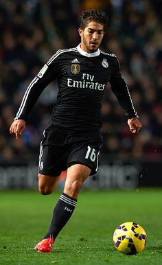 Lucas Silva of Real Madrid runs with the ball during the La Liga match between Elche FC and Real Madrid CF at Estadio Manuel Martínez Valero on February 22, 2015 in Elche, Spain.
