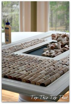 DIY Wine cork frame :) Awesome idea and awesome blog.
