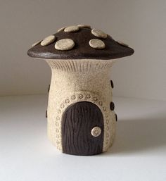Mushroom Ceramic Fairy House  White and Brown by ccartsy on Etsy, $30.00