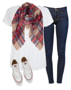 #fall #outfit / Plaid Scarf + White Sneakers