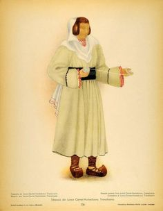 Peasant woman from Lunca Cernii de Jos - Huniedoara, Transylvania. Popular Costumes, Costumes For Women, Romanian Men, Folk Costume, Middle Ages, Traditional Art, Old Things, Culture, 1 Decembrie
