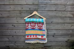 Handmade knitted baby blanket with fair isle pattern and crocheted edging.    Very soft baby blanket from 100% cotton with colorful fair isle pattern.