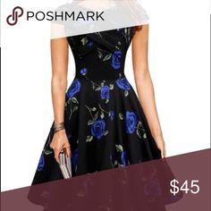 Floral vintage dress L-6 Dresses Midi