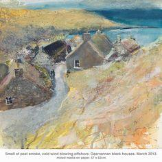 Smell of peat smoke, cold wind blowing offshore, Gearrannan black houses    - March 2013 - mixed media - Kurt Jackson | Kurt Jackson Place Book