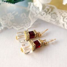 Ruby and Clear Swarovski Cube Crystal Earrings with Gold Plated Squardelles and Stud Posts
