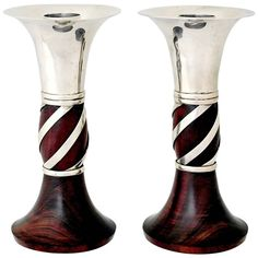 William Spratling Sterling Silver and Rosewood Candlesticks in Antiques, Silver, Sterling Silver (.925) | eBay