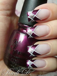 China Glaze Stella - purple and silver plaid nail tips