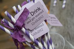 Purple Pixie Striped Paper Straws with Lilac Tag - Eat, Drink and Get Married - Set of 10. $12.50, via Etsy.