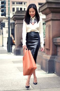 Leather Pencil Skirt , Sweater, And Heels 15 Fall Business Attire, Business Dress Code, Business Dresses, Office Fashion, Work Fashion, Valentine's Day Outfit, Outfit Ideas, Mode Inspiration, Dress Codes