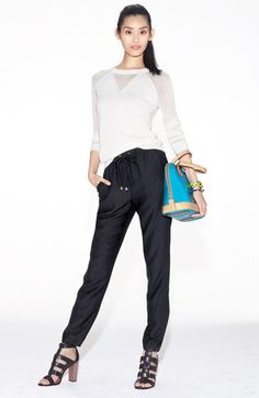 Vince Camuto Sweater -nordstrum.com -reminder sheer triangle at center neck is easy to add design detail for a knit top