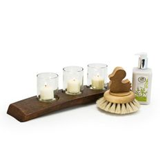 Little Luxuries Gift Set  $80.00  Light up their bathtime with this special gift set. We've combined our Clear Arctic Votive Candle Holder with our super soft Horsehair Duck Brush and Verde Hand and Body lotion for a set that's filled with simply sustainable treasures.