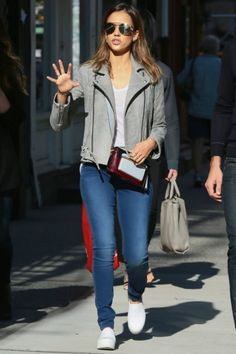 Jessica Alba wearing Mary Katrantzou Shoulder Bag, IRO Jova Leather Jacket in Grey, Opening Ceremony Slip-on Platform Sneakers and Ill.I Optics Sunglasses