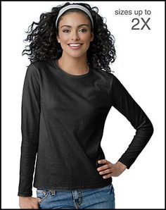 Total comfort and great fit make this Hanes women's shirt the perfect long-sleeve T-shirt. Flattering, feminine fit. ComfortSoft cotton, specially finished for superior softness. Double-needed stitching at sleeves and hem for added durability. Preshrunk for a lasting, true fit. Washable.