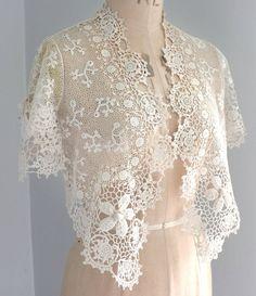 Antique/vintage Irish crochet lace bolero - raised flowers