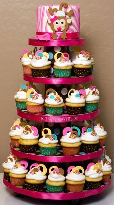 Created By: Litu0027l D Cakes Cupcakes Monkey( Itu0027s A Girl )baby Shower Cupcake  Tower