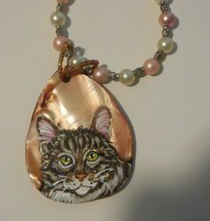 Maine Coon Cat Tabby Cat Pearl Necklace hand by daniellesoriginals