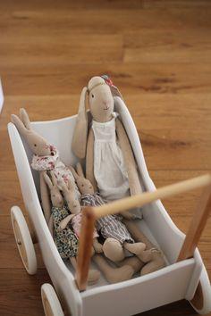 Maileg bunnies in a wooden dolls pram. How sweet!