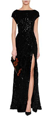 Black Draped Sequined Gown by ELIE SAAB | Luxury fashion online | STYLEBOP.com