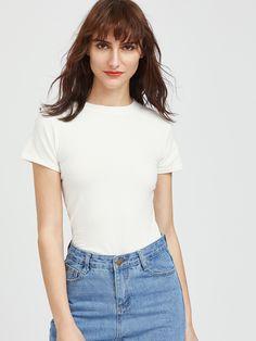 Camiseta de cuello redondo-(Sheinside)