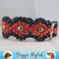LACEY Black and RED Beaded Dog Collar 16 by doggiestylish on Etsy, $40.00