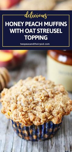 You will be head over heels in love with these Honey Peach Muffins with Oat Streusel Topping! This recipe is a must-make for back to school season. Filled with juicy peaches and covered with a sweet oat streusel topping, this breakfast idea will be a new family favorite! Dessert Recipes For Kids, Delicious Breakfast Recipes, Fun Desserts, Delicious Desserts, Recipes Dinner, Brunch Recipes, Bread Recipes, Easy Breakfast Muffins, Peach Muffins