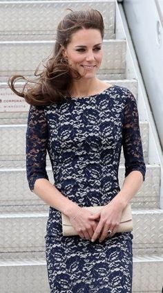 Navy lace dress worn by Kate Middleton