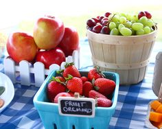 Fabulous fruit at a farm birthday party! See more party ideas at CatchMyParty.com!