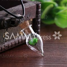Simple Style Cone Shape Bottle Dry Flower Necklace For Women