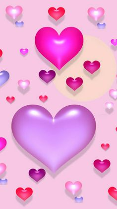 Pink and purple hearts. #cute #girlie #wallpaper