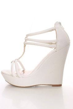 White Faux Snake Skin Wedges