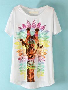 White Short Sleeve Giraffe Print T-Shirt #friki #hipster #camiseta #camisetaes