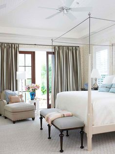 Beautiful french doors allow sunlight to pour into this dreamy escape. More master bedroom ideas: http://www.bhg.com/rooms/bedroom/master-bedroom/master-bedroom-ideas/?socsrc=bhgpin071913frenchdoors=7