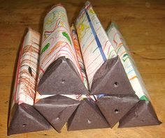 Homemade recycled material kaleidoscope for Earth Day.