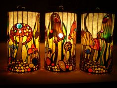 Mushroom Morning Pendant Lamp by Woodlandstainedglass on Etsy, $1760.00