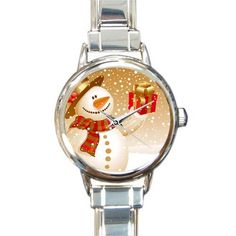 Personalized Watch Cute Snowman with a Gift Round Italian Charm stainless steel Watch >>> Discover this special outdoor gear, click the image : Travel Gadgets Cute Snowman, Travel Gadgets, Camping And Hiking, Stainless Steel Watch, Bracelet Watch, Best Gifts, Quartz, Watches, Baby Pandas